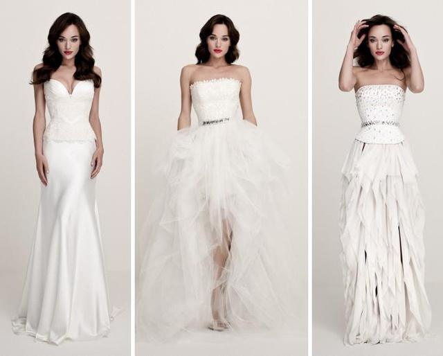 A visszafogott, szép anyagú, hosszú esküvői ruhák mellett a márkánál választhat a menyasszony bátrabb, de elegáns megoldásokat is.