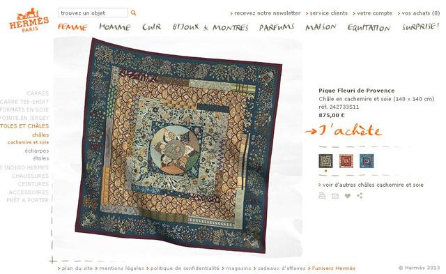 Hermés kendő a márka francia webshopjában...