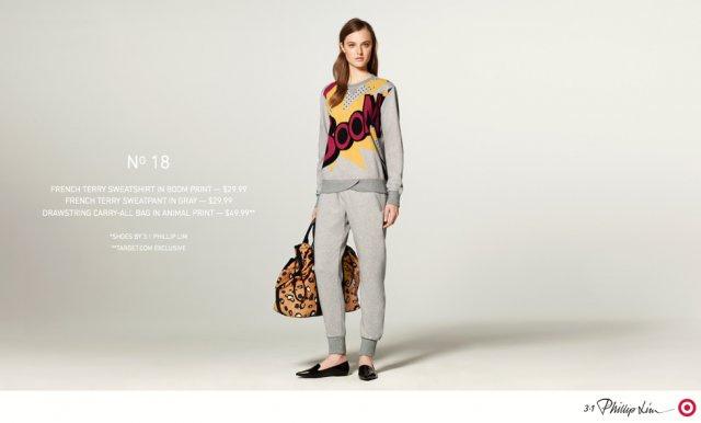 Laza szürke együttes papucscipővel és nagyméretű táskával.