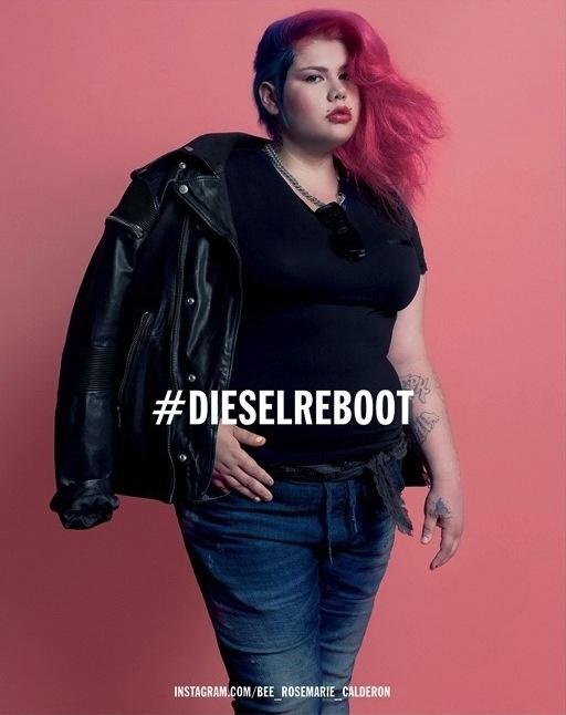 A márka egyik modellje, a 22 éves rózsaszín hajú, molett alkatú graffiti művész, Michelle Calderon.