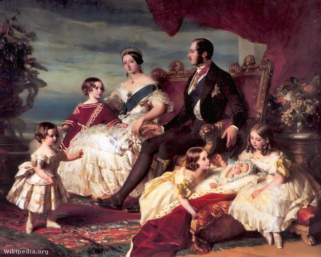 Viktória királynő családja 1846-ban, Franz Xaver Winterhalter festményén. Balról jobbra: Alfréd és Eduárd hercegek; a királynő és Albert herceg; Aliz, Ilona és Viktória hercegnők.