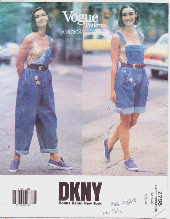 Donna Karan kertésznadrágjának mintája a Vogueban.