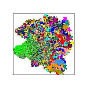 Egyetlen repedés növekedése a modellben: a repedés a bal oldali zöld területtel indult. Az egyes színes foltok a repedési lavinákat jelölik. Ezek a lavinákaz akusztikus jelek, a repedési zaj forrásai. A képen az utolsó pillanat látható, innen már egyetlen reppenés is katasztrófához vezet.