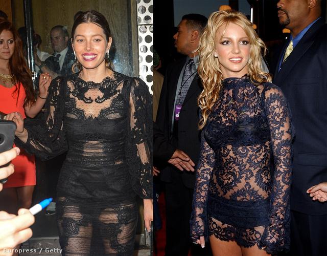 Egy kis humor: Jessica Biel hasonló ruhát választott a VMA estéjén, mint Britney Spears 12 évvel ezelőtt.