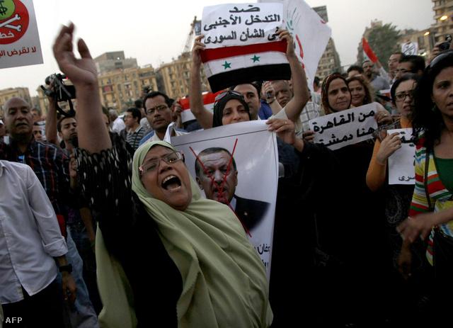 Tüntetők Kairóban szeptember 1-jén