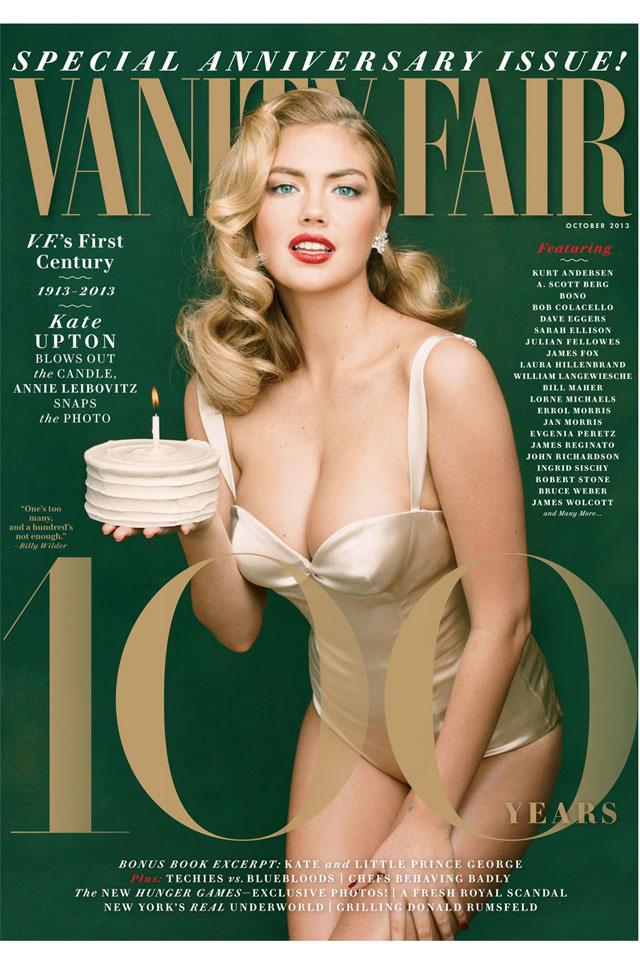 Kate Upton abban a különleges kegyben részesült, hogy a Vanity Fair 100 éves évfordulóján kerülhetett címlapra.
