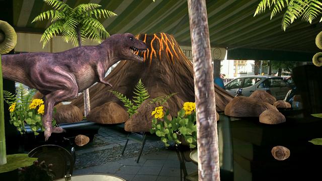 Virtuális dinoszaurusz rohangál a berlini utcán