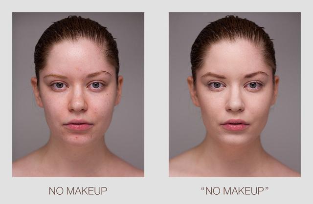 """Bal oldalon McKenzie smink nélkül, a jobbon pedig """"nincs smink"""" sminket visel."""