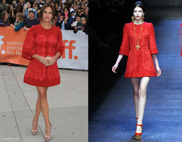 Íme Julia Roberts, aki a Dolce&Gabban őszi-téli kollekciójából választott egy ruhát.
