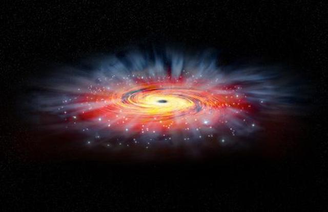 Fantáziarajz az Sgr A* környezetéről. A vörös korong a fekete lyuk által befogott és befele spirálozó forró gázt jelzi. A gáz forrása a kék színnel jelölt, az Sgr A* körül keringő fiatal, nagy tömegű, forró csillagok csillagszele. Az illusztráció azt is mutatja, hogy eközben nagyon nagy mennyiségű anyag áramlik kifele, ami magyarázza a kis röntgenintenzitást.