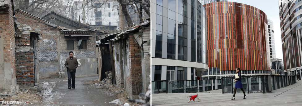 Balra egy lebontásra ítélt régi lakónegyedben bandukol egy férfi Pekingben. Amikor a kép készült, nagyrészt vidékről bevándorló munkások éltek itt, de hamarosan itt is olyan luxus lakónegyed épül majd, mint jobbra.