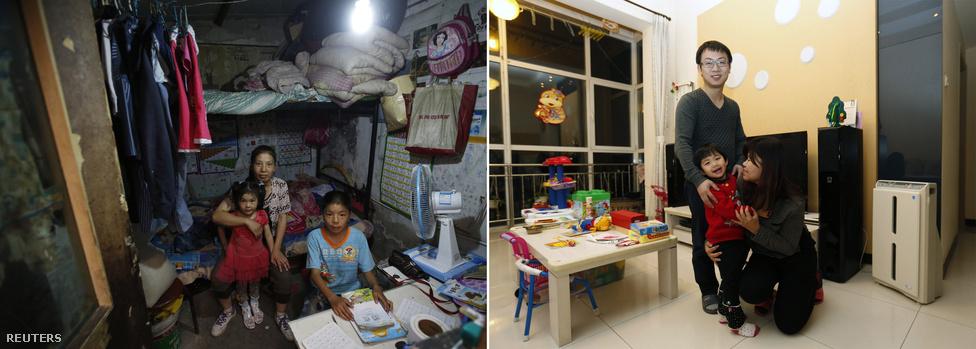 Jang Vej 400 jüant fizet havonta az öt négyzetméteres szobájáért a Peking melletti vendégmunkás-negyedben, férje építőipari munkásként dolgozik. Ezzel szemben a saját vállalkozását vezető Zao Csiang egy 31 millió jüan értékű, 117 négyzetméteres lakásban lakik családjával a kínai főváros egyik új negyedében.