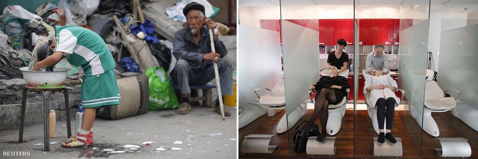 A vendégmunkások házaiban általában nincs külön fürdőszoba. Peking előkelőbb részeiben viszont nincs hiány a jobbra látható Eric Parishoz hasonló fodrászszalonokból.