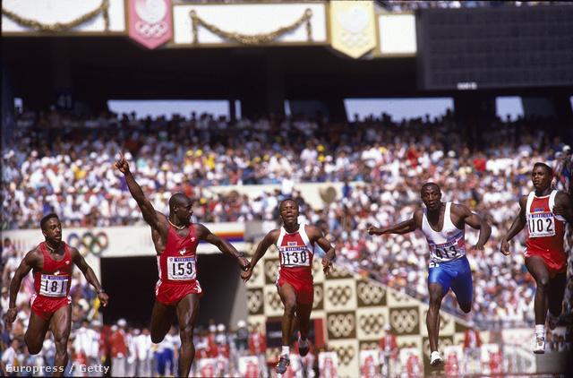 A 100 méteres síkfutás döntőjének befutója a szöuli olimpián
