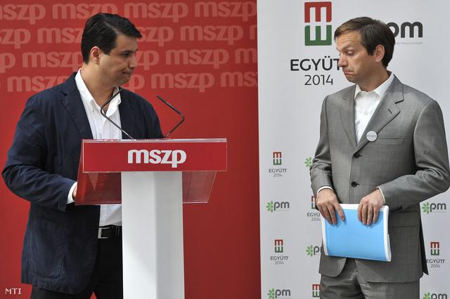 Mesterházy Attila, a Magyar Szocialista Párt elnöke és Bajnai Gordon az Együtt 2014 – Párbeszéd Magyarországért választási szövetség vezetője