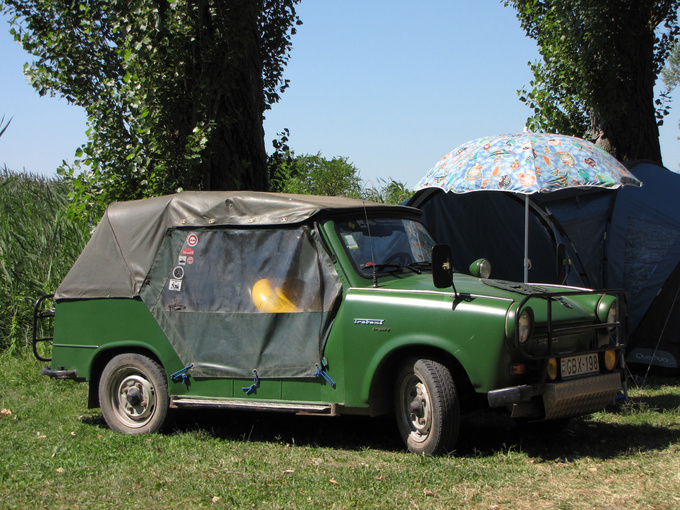 A convertible Trabant, an East-German sports utility vehicle. This is the civilian version called Trabant Tramp, the one used by the East-German Army and border patrol was called Kübel.