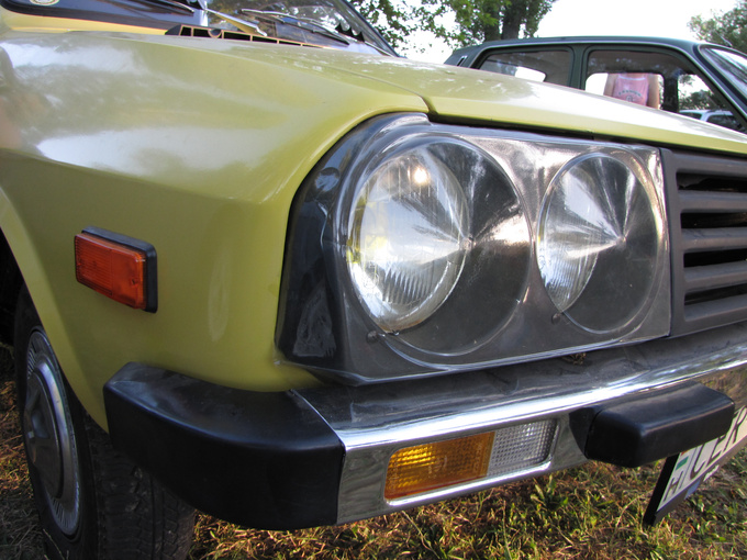 Vacuum-formed polyethylene headlamp protector, once a popular aftermarket add-on