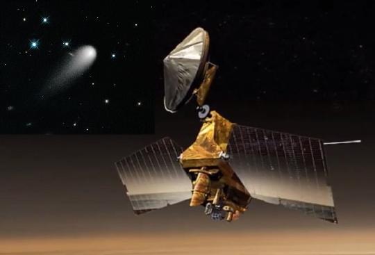 A NASA MRO (Mars Reconnaissance Orbiter) a bolygó körüli pályán keringve figyeli majd meg a Mars közelében elhaladó ISON-üstököst. (HST felvétel és NASA MRO montázs)