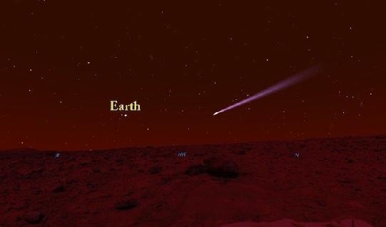 Az üstököst a vörös bolygó felszínéről a NASA Curiosity terepjárója alacsonyan, a horizont közelében fogja látni. Az üstököstől balra a Föld látható a Mars egén