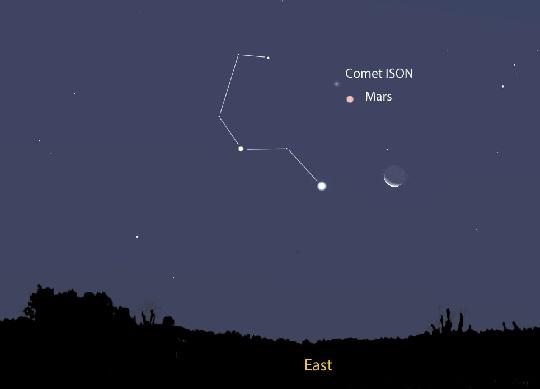Az ISON-üstökös 2013. október 1-jén a Földről a Oroszlán (LEO) csillagképben végez előretartó mozgást. A képen a keleti látóhatár fölé emelkedett égi Oroszlán feje és a csillagkép legfényesebb csillaga a Regulus látszik. A mintegy 11-12 magnitúdójú üstökös a Marstól észak-észak keletre kereshető fel kis-közepes amatőrtávcsővel. A vörös bolygótól délre pedig az újhold előtti holdsarló látható.