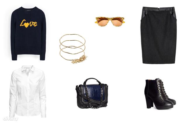 Szoknya - 9995 Ft (Zara), pulóver - 9795 Ft (Zara), ing - 3990 Ft (H&M), napszemüveg - 3995 Ft (Pull & Bear), karkötő - 39,04 euró (Asos), táska - 19990 Ft (H&M), cipő - 19990 Ft (H&M)