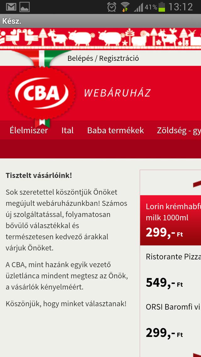 CBA - elvi webáruház