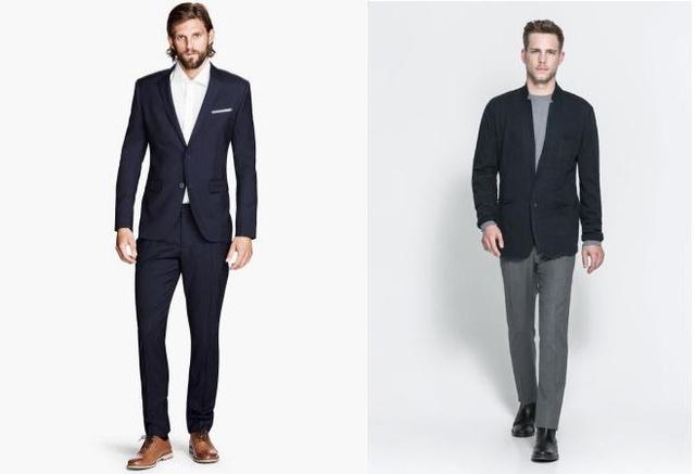 Bal oldalt: H&M szett. Nadrág 12990 forint, ing 3990 forint, zakó 14990 forint, cipő 6990 forint. Közel 40 ezer a business casual és egy nyakkendő kell még vizsgaidőszakra. Jobb oldalt: Zara szett. Zakó 17995, nadrág 22995, csizma 17995 forint, pólót meg már 6995 forintért kapni a márkánál. 66 ezer forint az irodista szett.