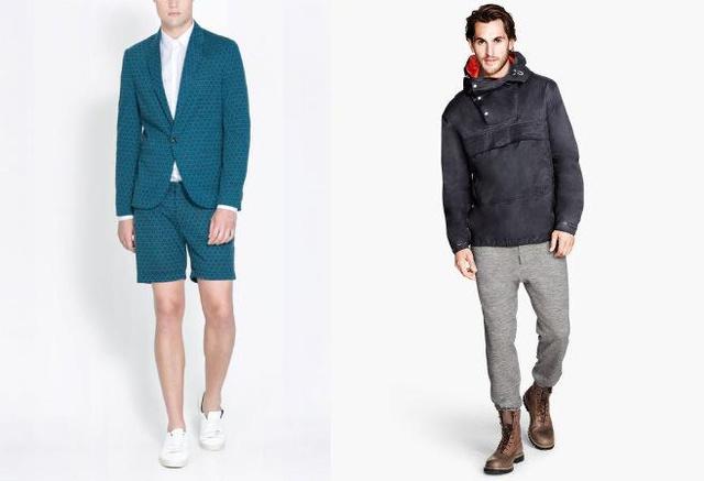 Bal oldal: Zara szett. Blézer 22995 forint, sort 9595 forint, ing 9995 forint. Jobb oldalon H&M szett látható. Tréningnadrág 8990 forint, bakancs 34990, kabát 14990 forint.