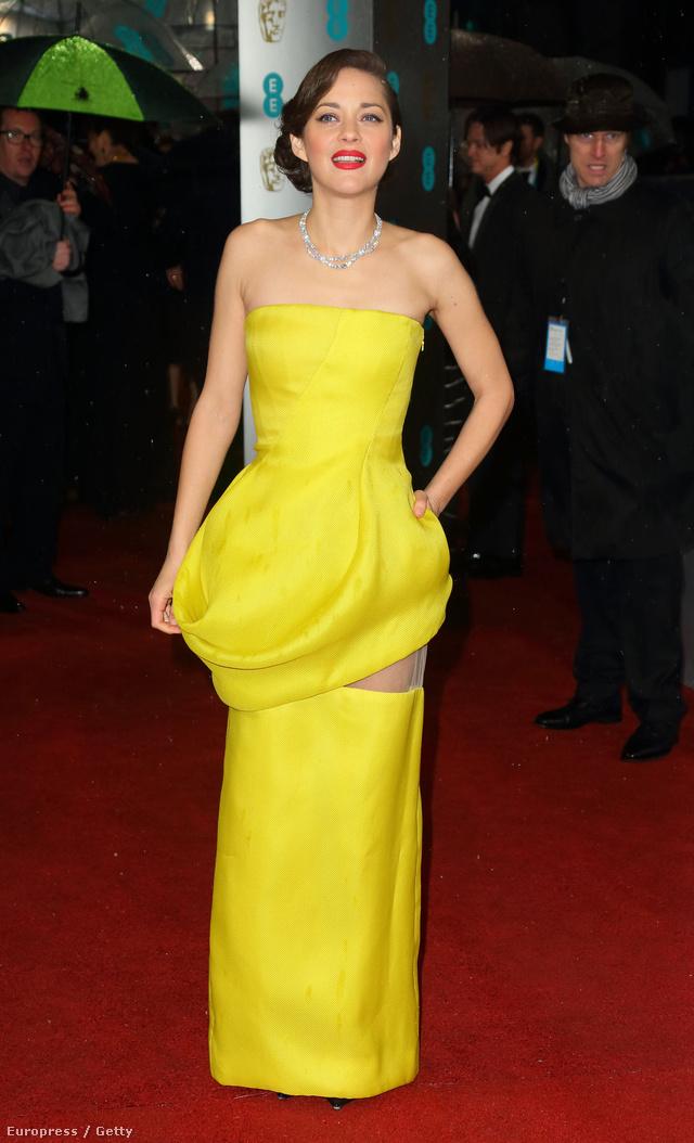 Bár a Dior haute couture ruha harsány színét illetve átlátszó anyagból készült berakását többen is kritizálták a szezonban, a francia színésznő mégis sikkesnek tűnt a szettben.