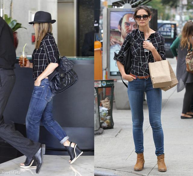 Jennifer Anistonnak és Katie Holmes-nak is bejönnek a kockás ingek.