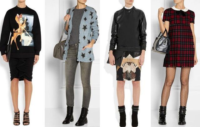 Montázs a legkelendőbb árucikkekről: a bambis pulcsi 850 euro, a csillagos kardigán 890, a bőrfelső 1950, a ruha pedig 2990 euro.