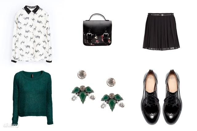 Ing - 9995 Ft (Zara), pulóver - 3990 Ft (H&M), szoknya - 9995 Ft (Mango), cipő - 13995 Ft (Zara), táska - 4595 Ft (Bershka), fülbevaló - 1495 Ft (Parfois)