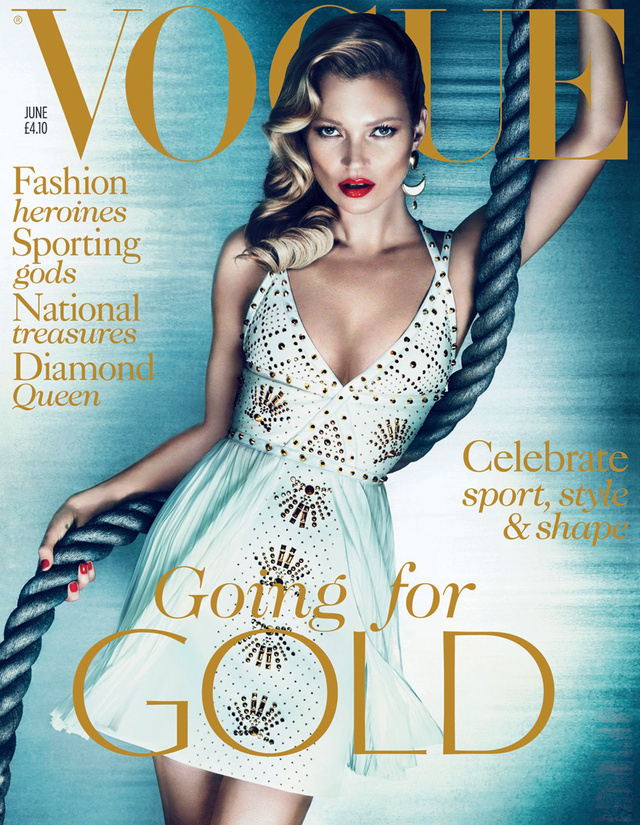 Kate Moss a brit Vogue címlapján.