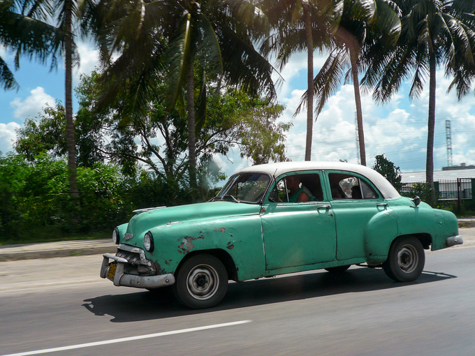 As soon as you arrive in Havana, you start taking pictures of the cars. Of all of them. You can't believe the place is real and it's not some movie set you've wandered into. This was about the fifth photo I took, still intoxicated and amazed by the sight.