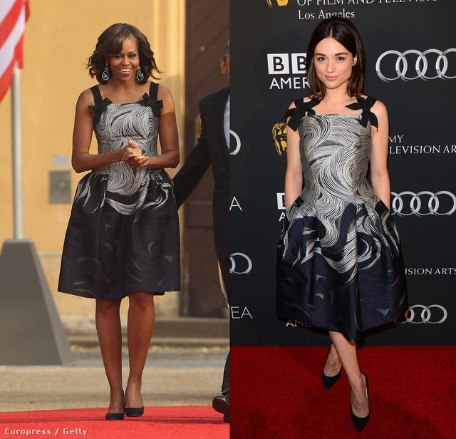 Michelle Obama és Crystal Reed ugyanarra a Carolina Herrera ruhára csaptak le.