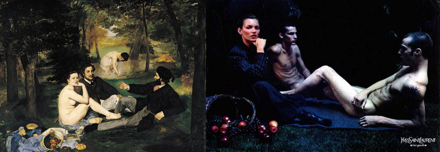 Manet: Reggeli a szabadban és az YSL Kate Mosszal újragondolt verziója.