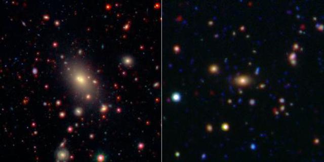 A baloldali kép az Abell 2199 galaxishalmazt ábrázolja, melynek 400 millió fényév a távolsága. A jobboldali képen az ISCS 1433.9+3330 jelű, 4,4 milliárd fényév távolságban fekvő halmaz látható.