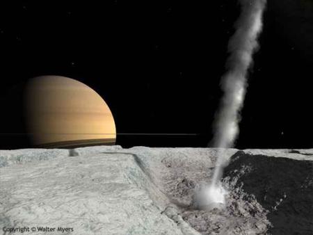 Fantáziakép az Enceladus egy gejzíréről (kép: Walter Myers)