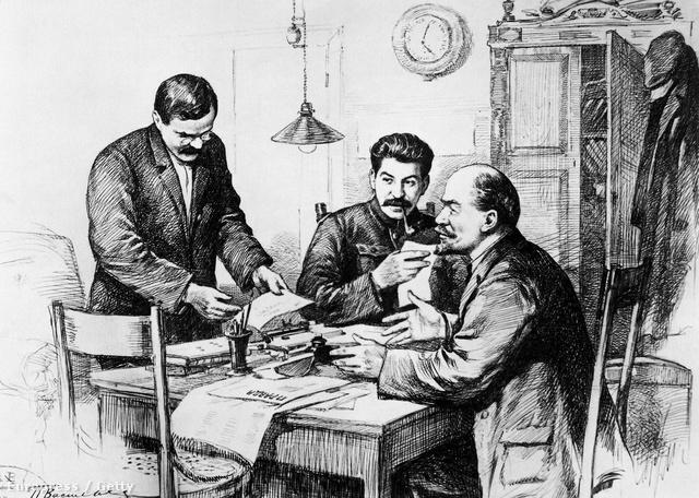 Molotov, Sztálin és Lenin a Pravda szerkesztőségében