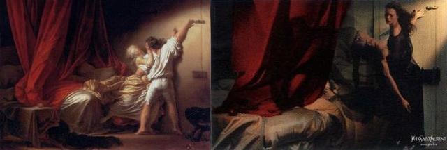 Jean-Honoré Fragonard: Le Verrou. A férfi helyett a női erő dominál a képen.