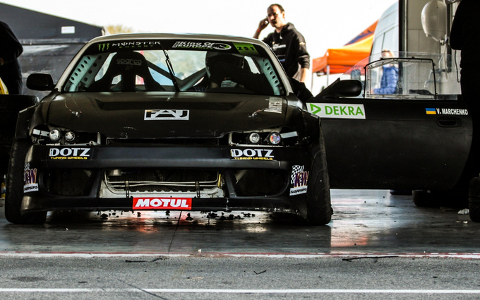 Ukrainian Vladymyr Marchenko's matte black S-14 Nissan Silva and its roaring V8 sound recalled the race cars at Nascar. The Ukrainian team meant business, too - their cars made more smoke than you see on an average Rolling Stones gig