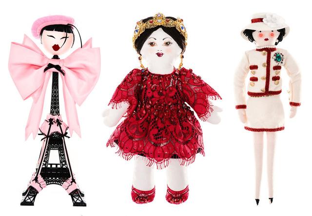 Balról jobbra a babák készítői: Chantal Thomass, Dolce&Gabbana, Chanel