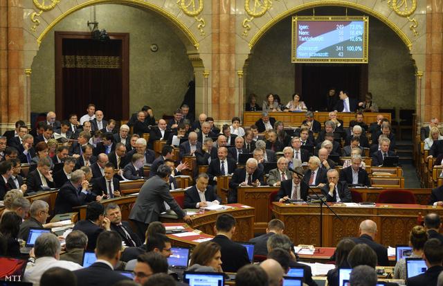 A 2014. évi adótörvényekről szóló szavazás eredménye a kijelzőn az Országgyűlés plenáris ülésén 2013. november 18-án.