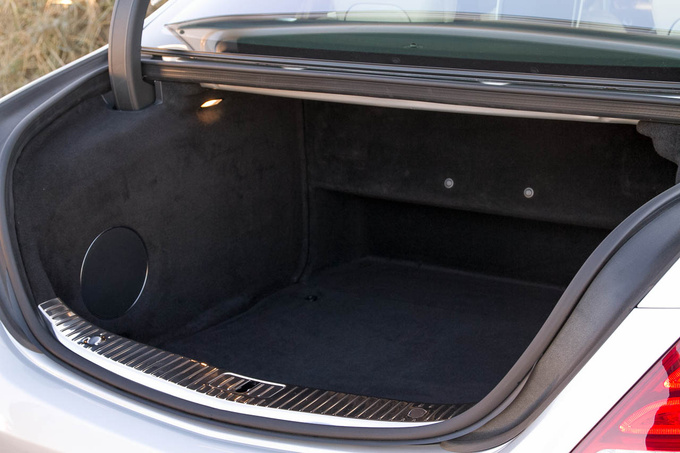 Trunk, truncated: subwoofer on the left, power seat mechanism in the back