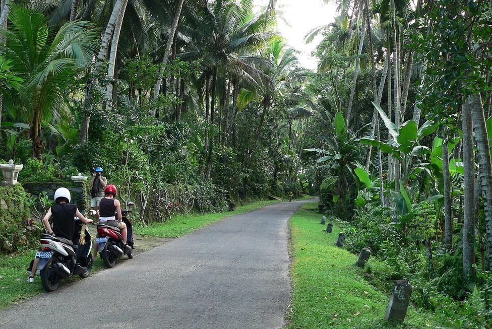 Fotózós pihenő. Balin robogózni rejt magában némi kockázatot, ugyanakkor határtalan élvezetet jelent. A számunkra szokatlan baloldali közlekedés és az utakat uraló természetes káosz biztosítja az adrenalint, a fantasztikus tájak és települések pedig az élményeket. A balinéz gyerekek szinte a robogón születnek, és nőnek fel, tízévesen már simán húzzák a gázt, és senki nem parancsolja le őket a nyeregből. A motorbérlés nem drága, az utakon pedig a közlekedés szabályok helyett a forgalmi szituációkra kell figyelni, és akkor általában nincs baj. Persze bármikor lehet, ezért mindenképpen legyen egészségügyi biztosításunk. Akár némi alkohol elfogyasztása után is lehet motorozni Balin, mert a rendőrség nem szondáztat – de ezt egyáltalán nem javasoljuk senkinek. A kis hegyi falvakat összekötő utakon tekeregni szinte már vallásos mélységű élmény – aki szeret motorozni, semmiképp ne hagyja ki!