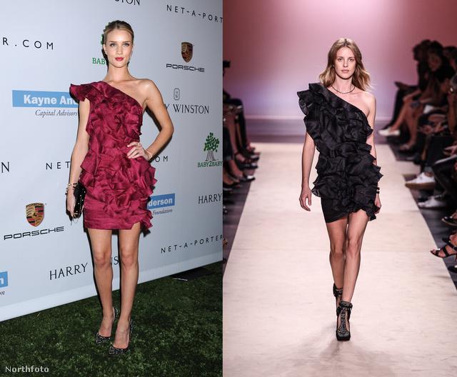 Rosie Huntington-Whiteley a H&M-mel nemrég együttműködő Isabel Marant-tól választott egy fodros ruhát.