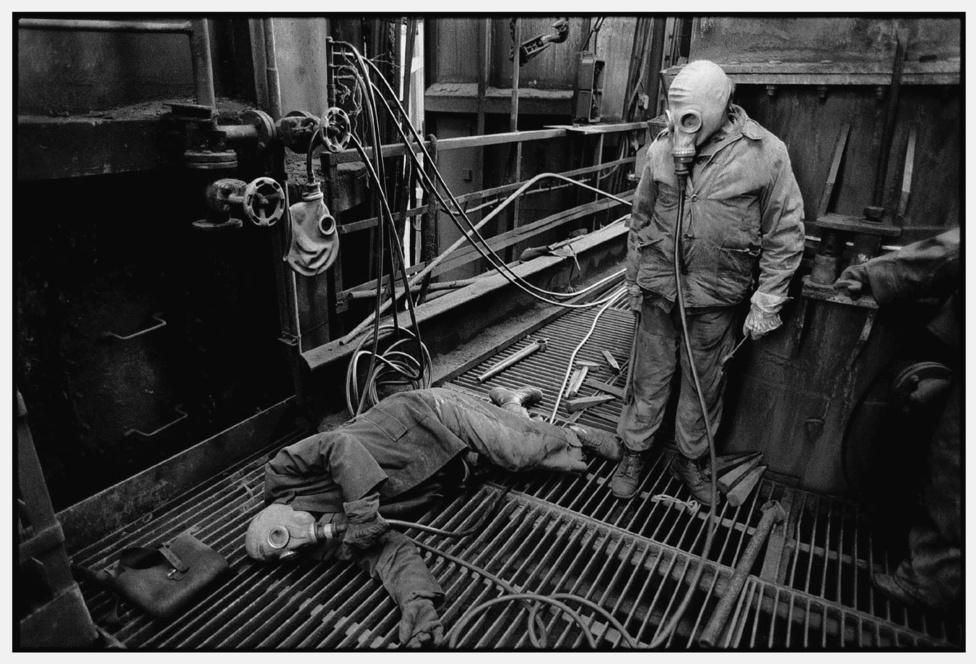 Karbantartók. Kohógázüzem. Ózd, 1989