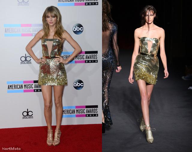Taylor Swift éppen lábakat mutat Julien MacDonaldben.