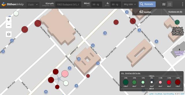 Az Otthontérkép azokat az Andrássy úti lakásokat is egyenletesen osztja el, amelyeknek nem tudjuk a pontos címét
