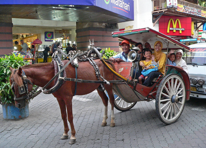 I wonder why horse drawn carriages are such a big deal from New York City through Vienna to Bali. I suppose it has to do with romanticism which apparently thrives even in the heaviest of traffic jams. This Muslim family certainly has a great time galloping in the Kuta rush hour.